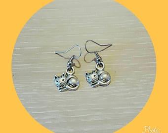 metal cat earring