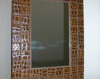 Mirror mosaic embossed leather