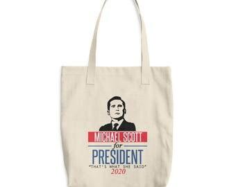 Michael Scott for President Cotton Tote Bag