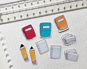 Paper and pencil combo stickers