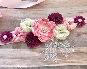 vintage Flower Sash Pink Maternity Sash Belly Belt Sash Plum and Pink Baby Shower Reveal Party Sash