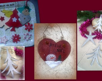 SET of 13 wooden ornaments * for Christmas