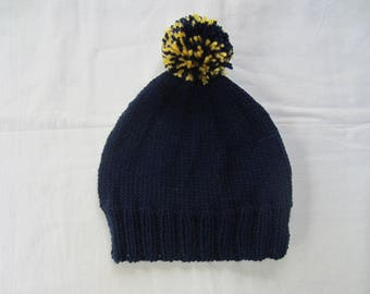 Blue adult or child Hat night with pompom