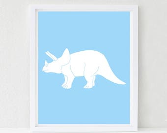 Dinosaur Nursery, Wall Art, Triceratops, Nursery Decor, Kids Wall Art, Baby Shower Decor, Choose Your Custom Color
