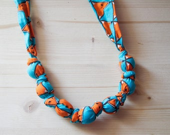 "100% organic cotton fabric necklace model ""Foxes"""