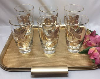 Tall Bar or Drinking Glasses Libbey Gold Leaf - set of 6 with tray