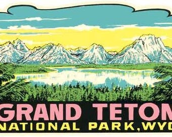 Vintage Style Grand Teton National Park Wyoming Travel Decal sticker