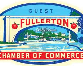 Vintage Style   1950's   Fullerton California  Travel Decal sticker