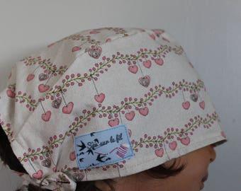 Nice cap block fabric washable Pink Hearts