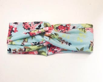 Teal floral turban