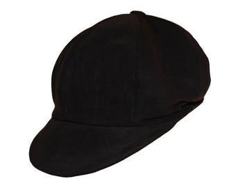 Leather newsboy cap true black