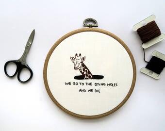 Giraffe In A Hole Embroidery