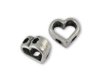Passing metal 10 x 9 mm antique silver heart bead