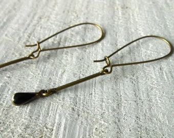 Enameled drop dangle earrings minimalist bronze, black