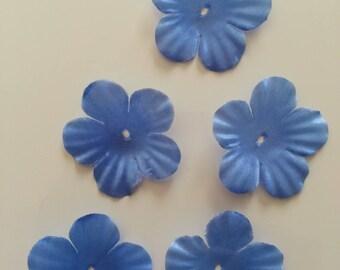 lot de 5 fleurs en tissu bleu 35mm