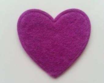 coeur en feutrine violet   31mm