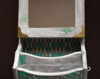Wall mirror with wooden box