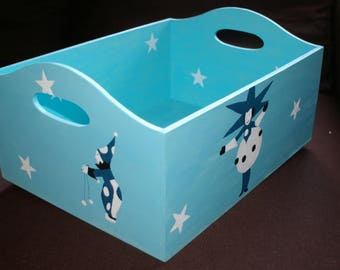 Storage box for toys or stuffed animals hand painted