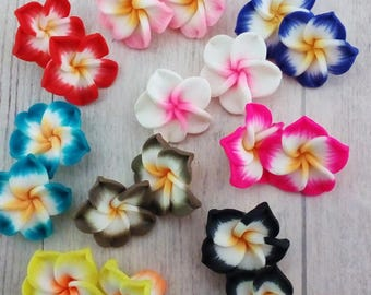 Set of 18 shaped polymer clay flower beads