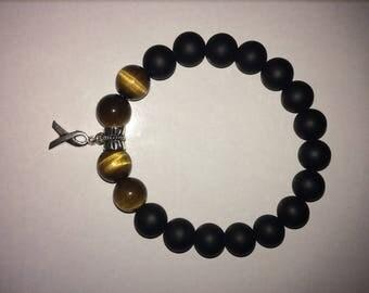 Men's Black Onyx, Tiger eye bracelet