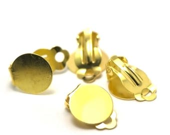 4 big supports 15mm gold plated clip earrings