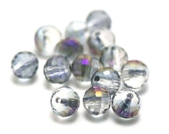 "20/60 ""round faceted"" 8 mm grey iridescent purple Crystal beads"