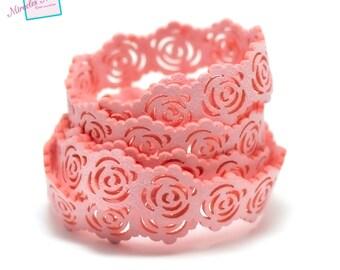 "1 m Strip perforated suede DrawString ""rose"" 19 x 2 mm, pink"