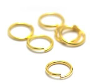 100 gold plated, 6 mm split rings