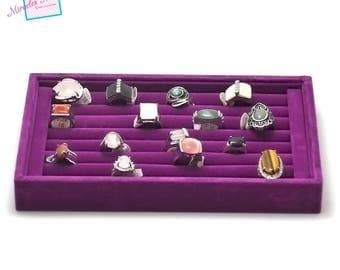 Display trays for ring 23 x 14, 5 x 3 cm, purple Velvet