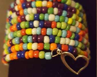 Multicolored beads memory wire bracelet