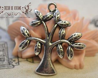 set of 4 YDZ001 pendant, silver, trees