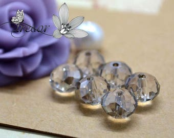 Set of 10 beads, glass, Crystal, faceted, luster, 8x6mm rondelle