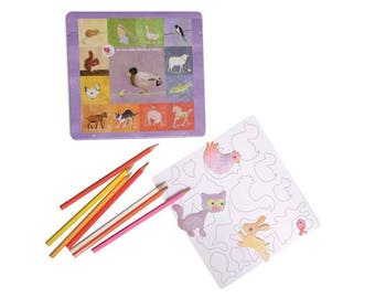 Kit creative coloring magnets on the theme of the farm animals with a metal box of 24 colored pencils
