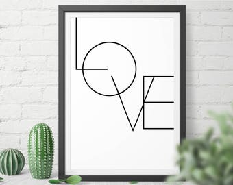 Black and White Love printable wall art for home and office - digital download you can print in any size