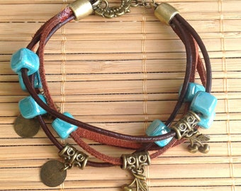 Multi strap cords chocolate and turquoise