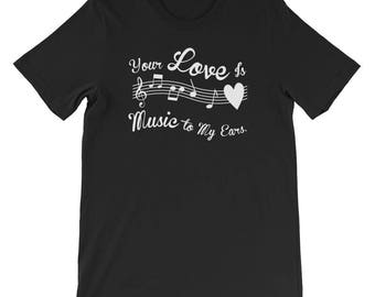 Unisex Music To My Ears Valentines Day shirt musicians guitarists piano players date night sweetheart love boyfriend girlfriend lover