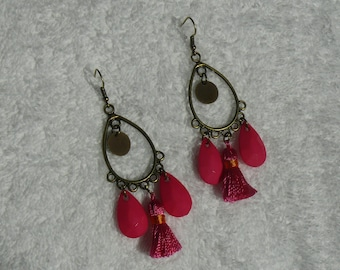 earring print oval and pink beads