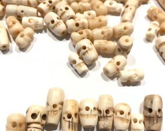 Carved Bone Skull Beads, Bone Heads, Skull Heads, Skull Beads Bone, Shrunken Heads