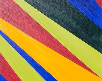 Abstract  Canvas Art, Modern Original Framed Deep Edged, Oil Painting. Artist Peter D Davies. Title: Angle 10. Size. 61 x 45 x 4cm