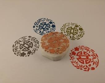 handmade stamp round asiastique