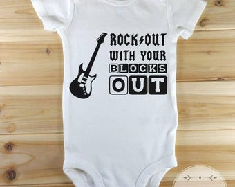 Funny Baby Onesies, Cute Baby Clothes, Hipster Baby Clothes, Funny Onesies, Rock Out With Your Blocks Out, Cute Baby Onesie, New Baby Gift