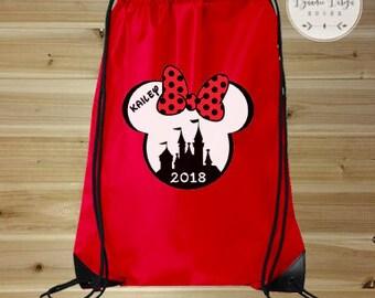 Disney Bag, Minnie Mouse Bag, Drawstring Bag, Minnie Mouse Backpack, Disney Vacation Bag, Drawstring Backpack, Disney Park Bag, Disney Tote