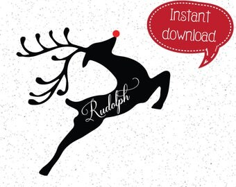 Rudolph SVGs, Reindeer SVG, Christmas SVG, Merry Christmas SVGs, Christmas SVGs, SVGs, Cricut Cut File, Silhouette File