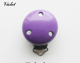 Clip / buckle, wooden pacifier Clip: Violet