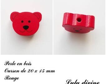 20 x 15 mm wooden bead, Pearl flat Teddy bear head: Red