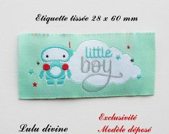 Woven label - little boy - 28 x 60 mm, green cloud Robot