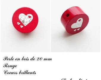 20 mm wooden bead, Pearl red flat: Silver heart