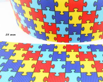 Colourful puzzle of 38 mm grosgrain Ribbon sold by 50 cm