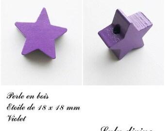 18 x 18 mm wooden bead, bead flat Star: purple
