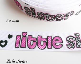 Ribbon grosgrain Zebra & white polka dot Little Sister by 22 mm sold by 50 cm